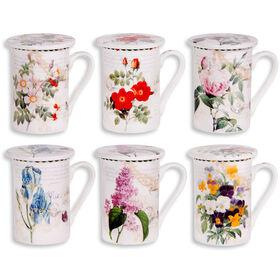 2 Piece Flower Mug With Lid- Assortment of 6
