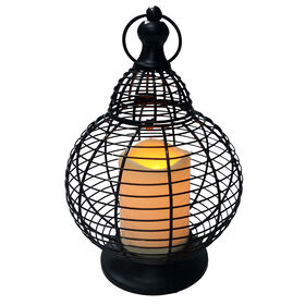 Picture of Metal LED Lantern- Black 10.5-in