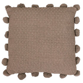 Picture of Parker Pom Knit Brown Pillow- 20-in