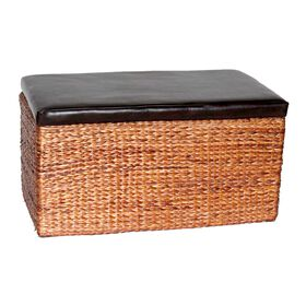 Picture of Brown and Natural Rush Rectangular Storage Trunk - Extra Large