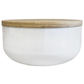White Lacquer Bamboo Coffee Table
