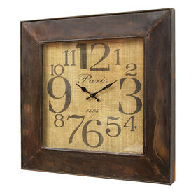 Picture of 24 X 24-in Distressed Brown Metal Clock with Burlap Face