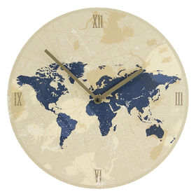 AC 12X12 MDF CLOCK WORLD MAP