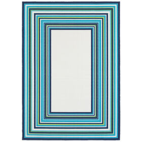 Picture of E142 Blue and Green Border Rug
