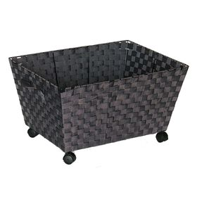 Picture of Rectangular Nylon Band Bin with Wheels - Charcoal