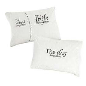 Picture of Husband Wife Dog Pillowcase- 2 Pack