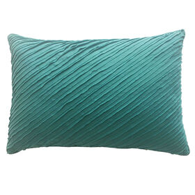 Avery Teal Raw Edge Pleated Pillow 14x20 in.