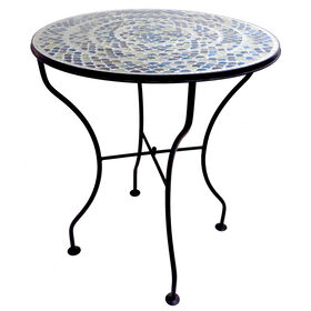 Picture of Mosaic Round Metal Table - Light Blue 25H