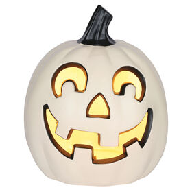 Picture of White Medium Light up Pumpkin- 8-in