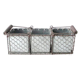 Picture of Flat Chicken Wire Rectangular Basket with Handles