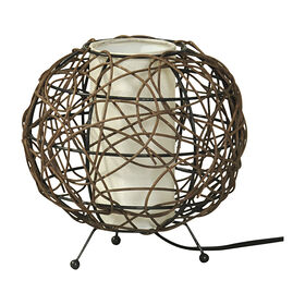 Picture of Small Round Rattan Uplight 8x8x8-in