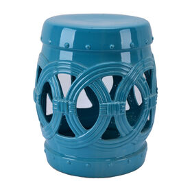 Picture of Ceramic Circle Cut-out Plant Stand- Turquoise