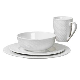Picture of 16-Piece Basketweave Dinnerware Set, White