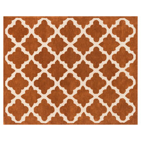Picture of Ivory and Orange Rust Moroccan Rug- 8x10 ft