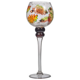 Picture of 14IN Leaves Glass Candle Holder