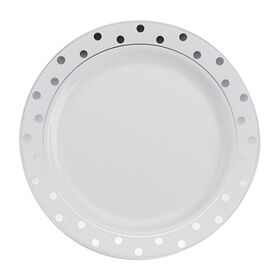 Picture of White Plates with Silver Dots, 7.5-in., Set of 10