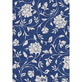 Picture of B264 Blue Jacobean Silhouette Rug- 5x7 ft