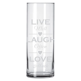Picture of Etched Clear Glass Vase, Live, Laugh, Love