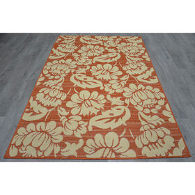 Picture of Miami Floral Rug- Terracotta 8x10-ft