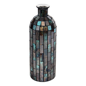 Picture of Blue & Brown Mosaic Bottle Vase- 3 x 8-in