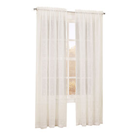Picture of Ivory Scroll Viole Window Curtain Panel 84-in