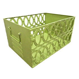 Picture of Metal Rectangular Large Basket with Circular Pattern - Lime Green