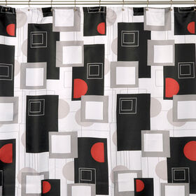 Picture of Black and Red Urban Beat Shower Curtain