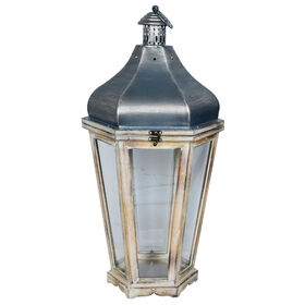 Picture of 26-in. Wood Hex Lantern with Metal Top
