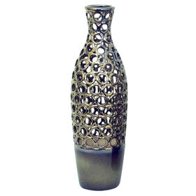 Picture of Silver Glaze Cutout Vase- 6 x 18-in