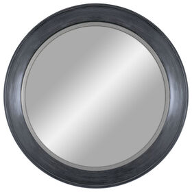 Picture of 30-in Distressed Blue Mirror with Silver Lip