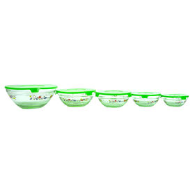 Picture of Green Five Piece Glass Storage Set