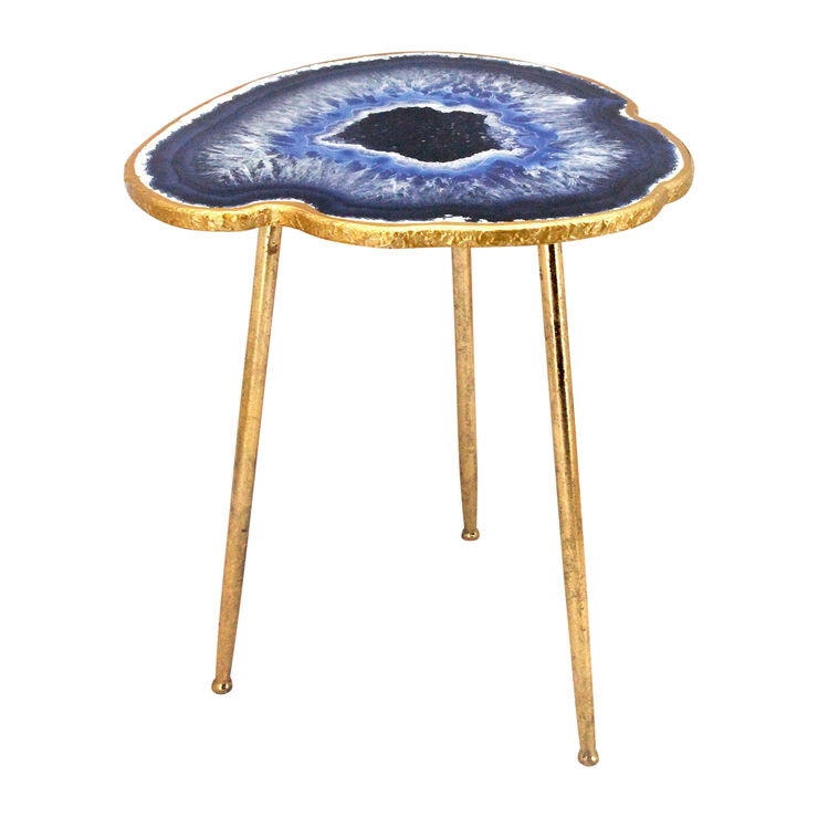 Outdoor patio furniture shade - Gold And Blue Metal Agate Table At Home