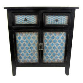 Picture of Wood Cabinet Blue Print 2 Drawer / 2 Door - Black