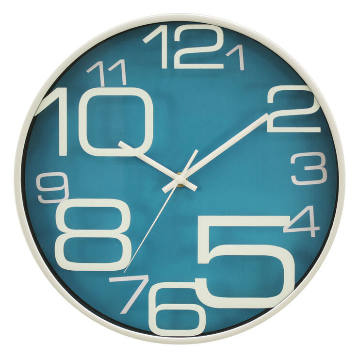 12-in Blue Printed Glass Clock