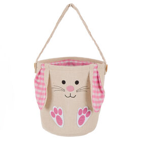 Picture of Burlap Basket with Plaid Bunny