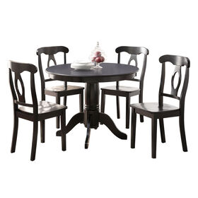 Sofia 5-Piece Black Pedestal Table Set- Table: 42-in RD, 30-in H; Chair: 35-in