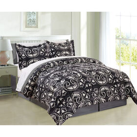 Navy and White William Comforter Set Queen- 8 Piece