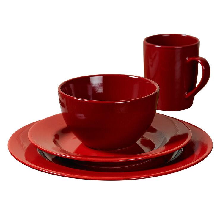 16-Piece Round Ceramic Dinnerware Set, Red