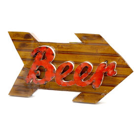 Picture of Beer Arrow Sign Wood Imitation