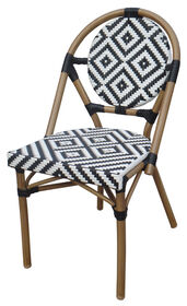 Picture of Black & White Aluminum and Wicker Cafe Chair