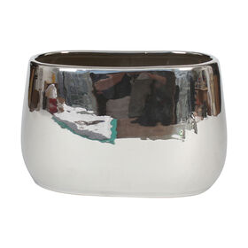 Silver Oval Metallic Plant Pot- 9 in.
