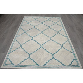 Picture of B282 Blue Maya Lattice Rug