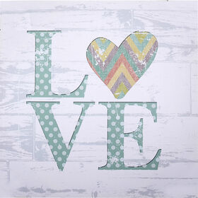 Picture of 24 X 24-in White, Blue, Green and Yellow Love Studio Art