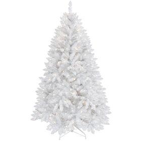 F17 5-ft Pre-Lit White & Silver Frasier Christmas Tree