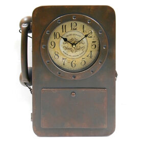 Picture of Vintage Metal Clock Wall Phone- 15.75 in.
