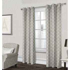 Picture of Baroque Textured Grommet Curtain Panel- Gray 84-in