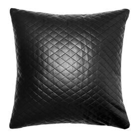 Picture of Black Faux Leather Posh Diamond Pillow- 18 in.