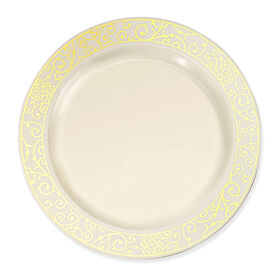 Picture of 10.25-in Venetian Gold and Bone Plates - set of 10