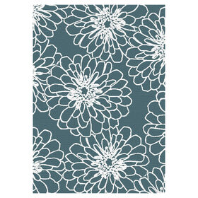Picture of Teal and White Marigold Rug 3 X 5 ft
