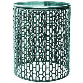 Picture of Dark Teal Round Stamp Table- 15 in.